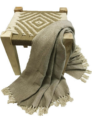 HANDMADE COTTON THROW- HERRINGBONE