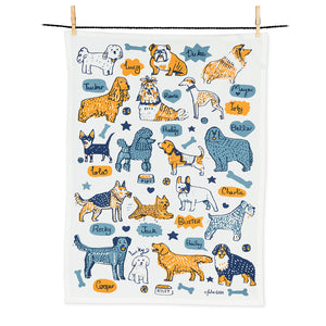 Dog with names Tea Towel