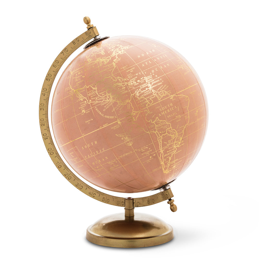 GLOBE ON STAND-PINK AND GOLD