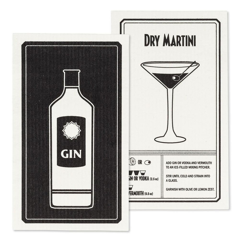 Gin & Martini Dish Cloths. Set of 2