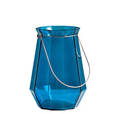 Glass Large Lantern-Teal
