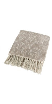 COTTON THROW SILVER/BEIGE