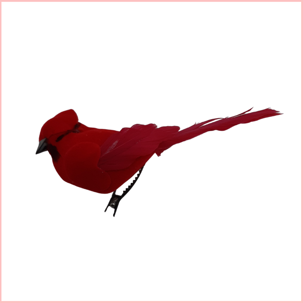 CARDINAL FEATHER BIRD W/CLIP