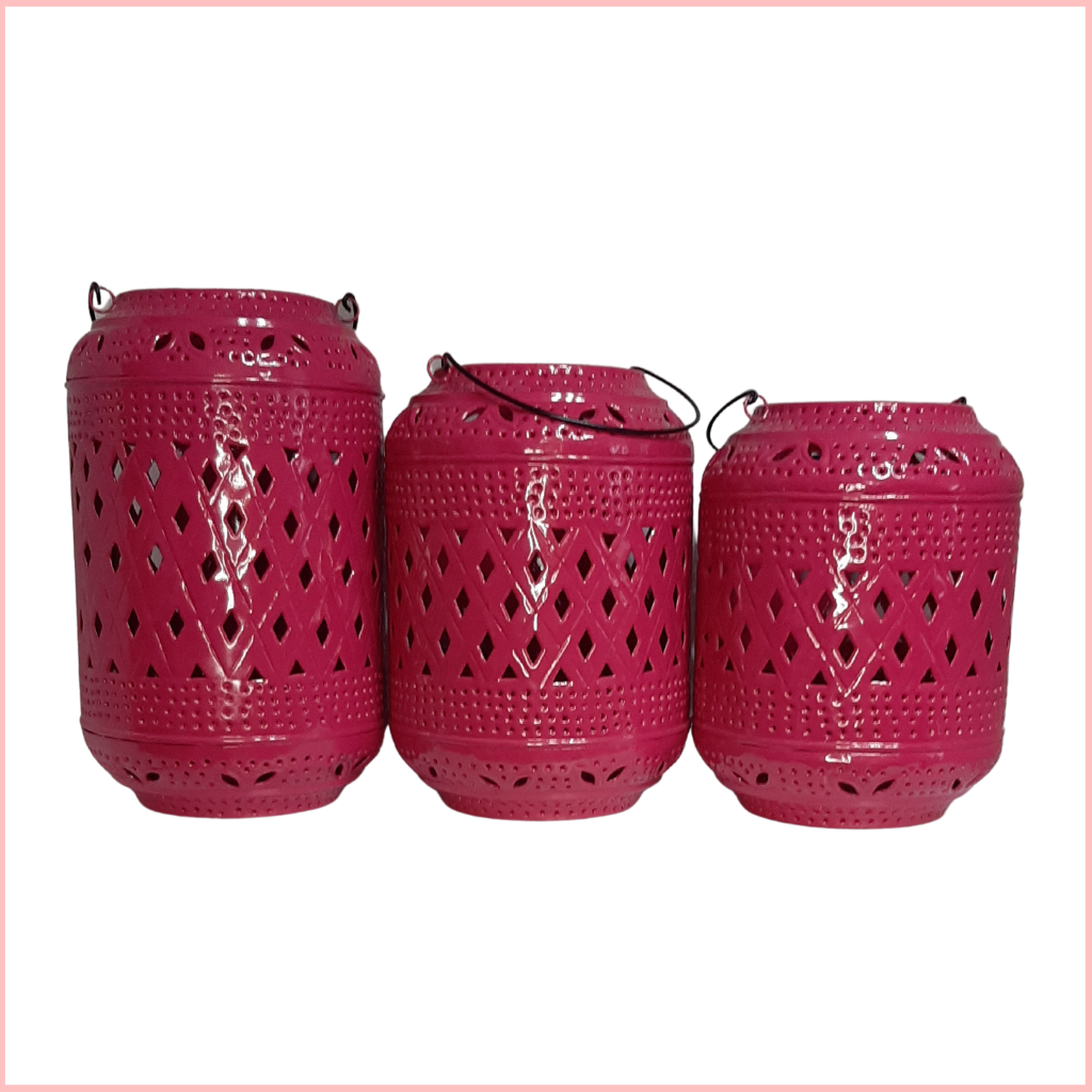FUSCIA HANDMADE LANTERNS SET OF 3