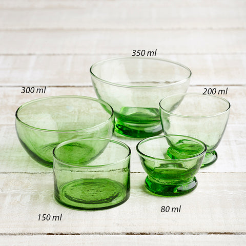 Glass Bowls - Green -   5 styles