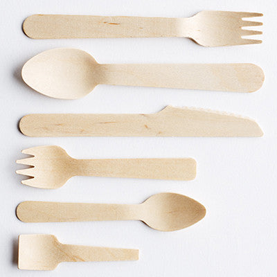 Wooden Cutlery, knive, fork, spoon, teaspoon, small fork
