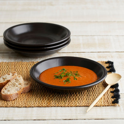 Black Spanish Terracotta Flat Soup/Pasta Bowl