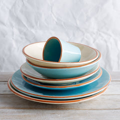 Spanish coloured plates, bowls and cups turquoise and creme