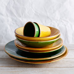 Spanish coloured plates, side plates, bowls and cups