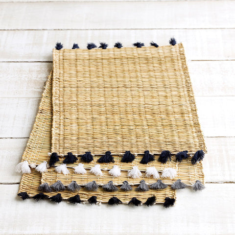 Handwoven Moroccan Tablemats with Tassels - 6 colours