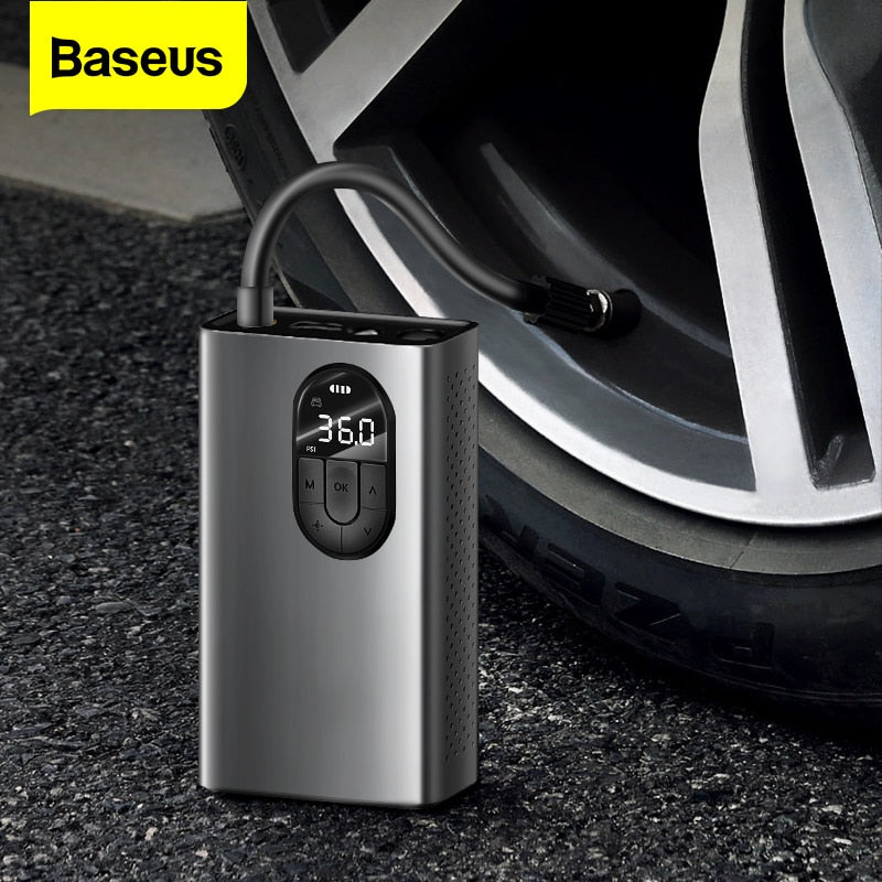 Baseus Car Air Compressor Portable Electric Air Pump Mini Auto Tyre Inflator Car Air Tire Pump For Car Bicycle Moto Boat