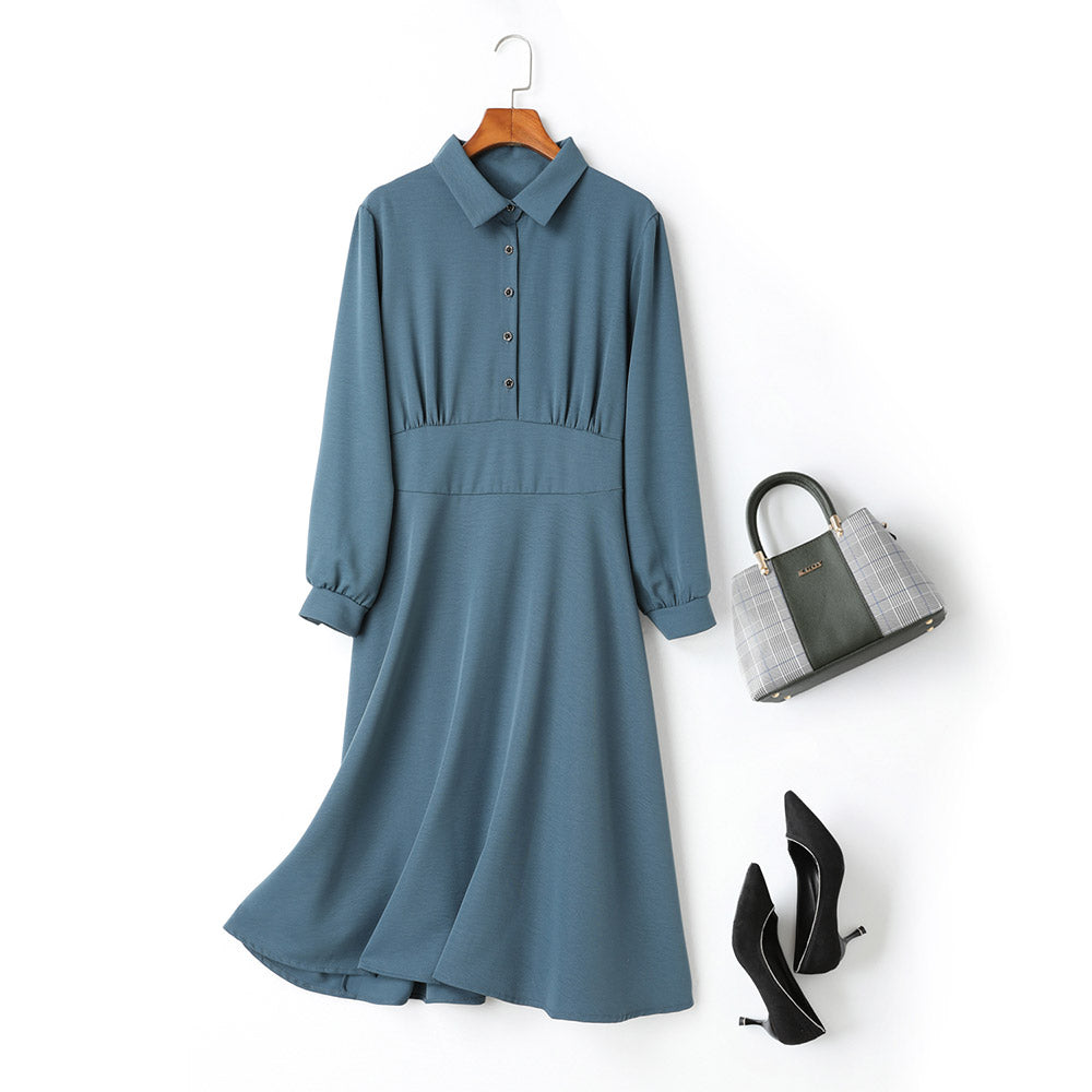 plus size collared green buttons balloon sleeve green swing hem long sleeve midi office shirt dress