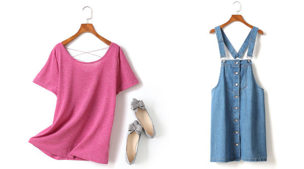 Plus Size Pink T Shirt and Denim Suspender Dress