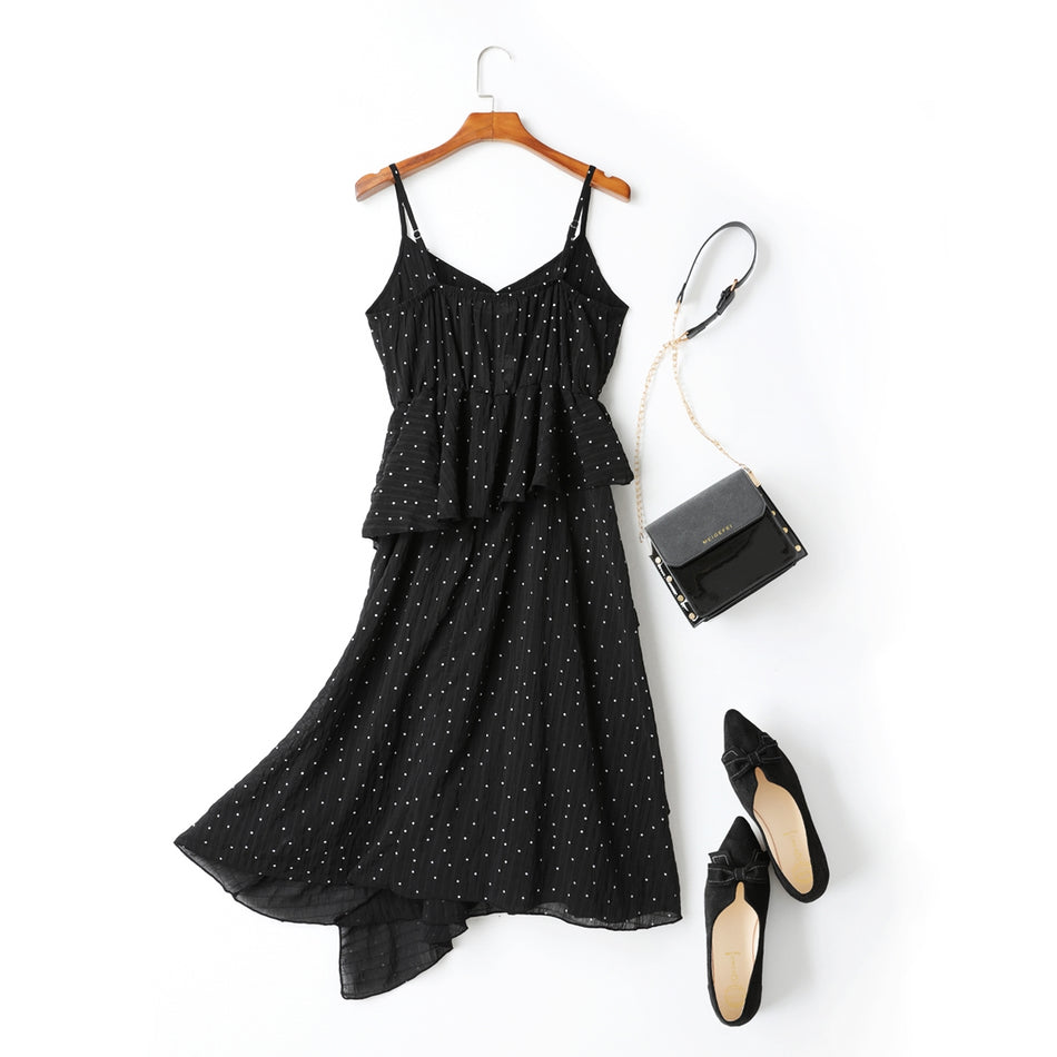 Arielle Polka Dots Print Peplum Tier Camisole Spaghetti Sleeveless Midi Dress