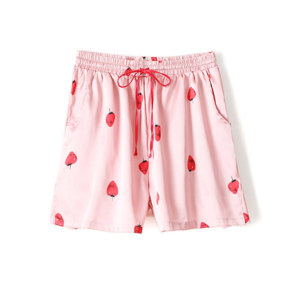 Tulia Plus Size Pyjamas in Strawberry Print with Short Sleeve Shirt Blouse and Shorts (Pink, Blue)