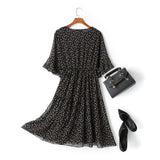 Alena Leafs Printed V Neck Tier Chiffon Plus Size Mid Sleeve Midi Dress (Black)