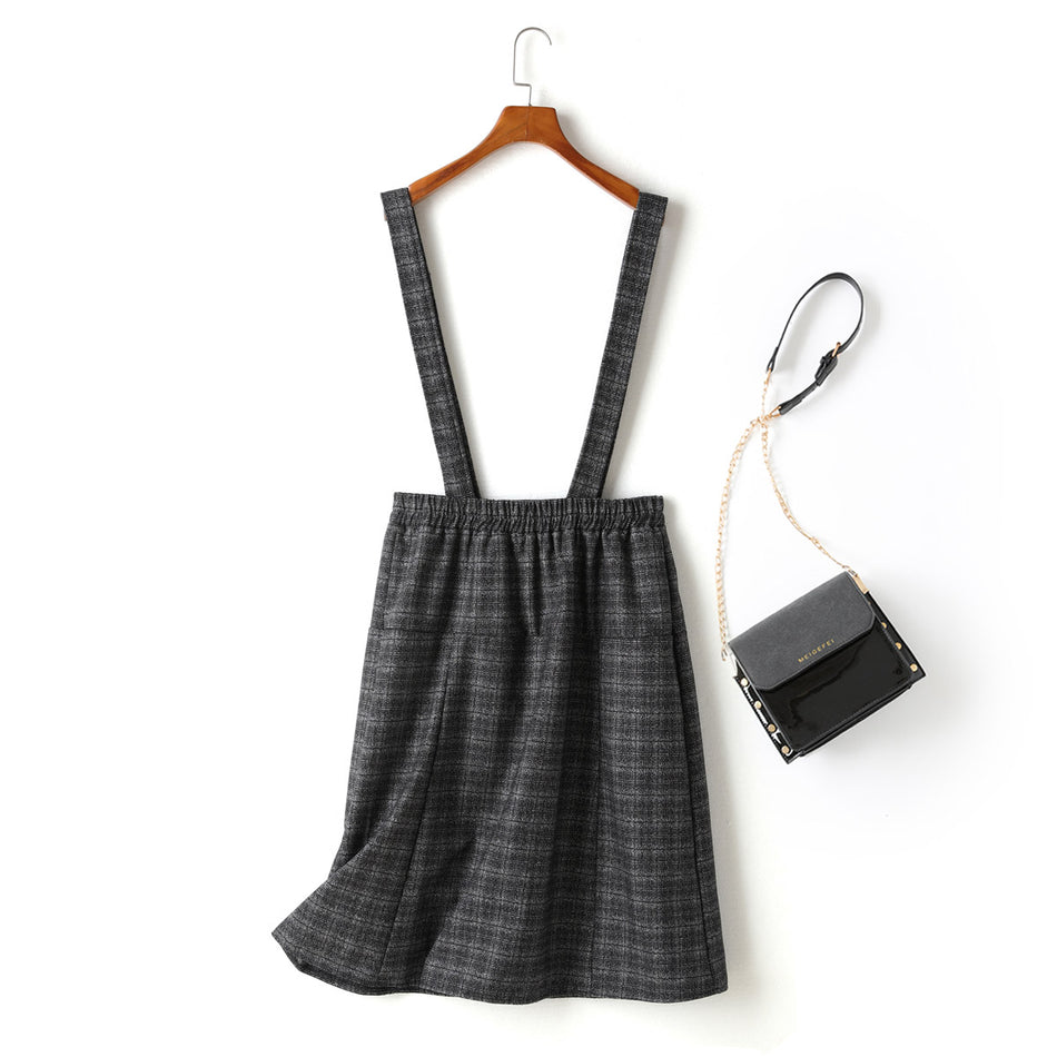 Kimberly Plus Size Black Checked Double Breast Buttons Suspender Skirt