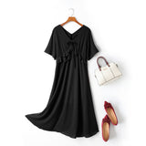 Cella Plus Size V Neck Ribbon Swing Short Sleeve Midi Dress