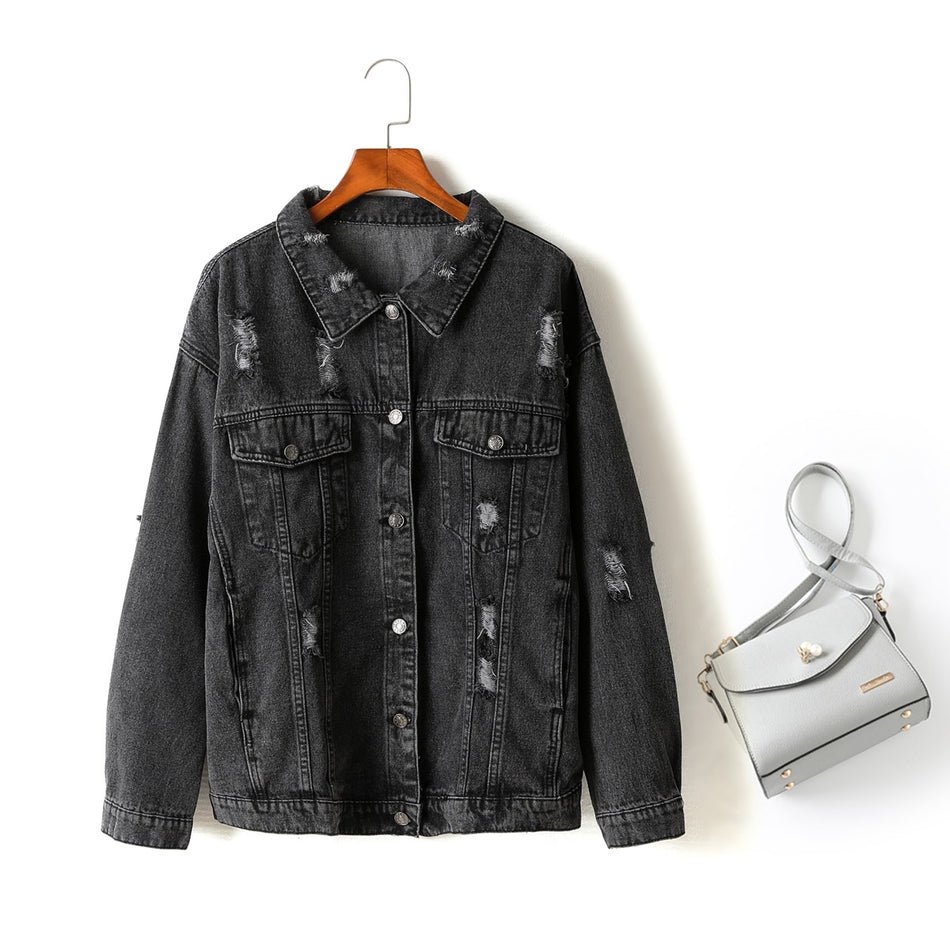 Karen Plus Size Ripped Denim Jacket (Black)