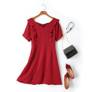 Chloe Plus Size V Neck Bow Back Tie Frills Short Sleeve Dress (Red, Black)