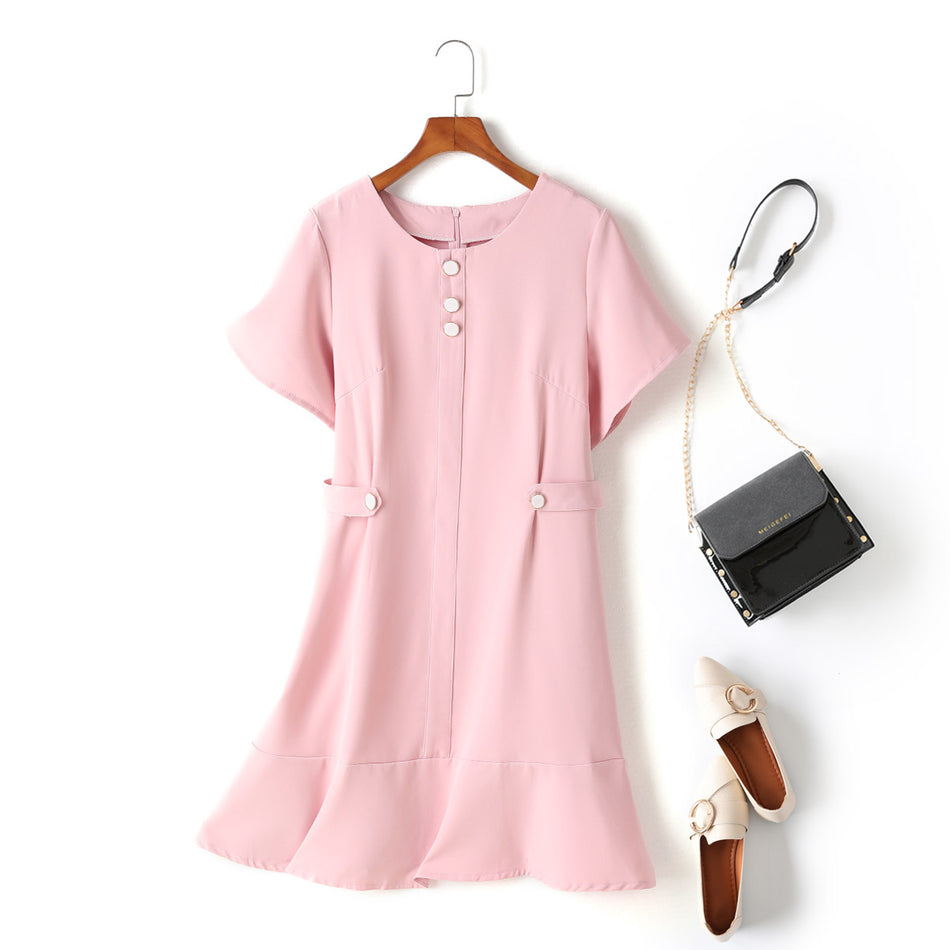 Kelly Plus Size Buttons Mermaid Pastel Colour Short Sleeve Dress (Pink)