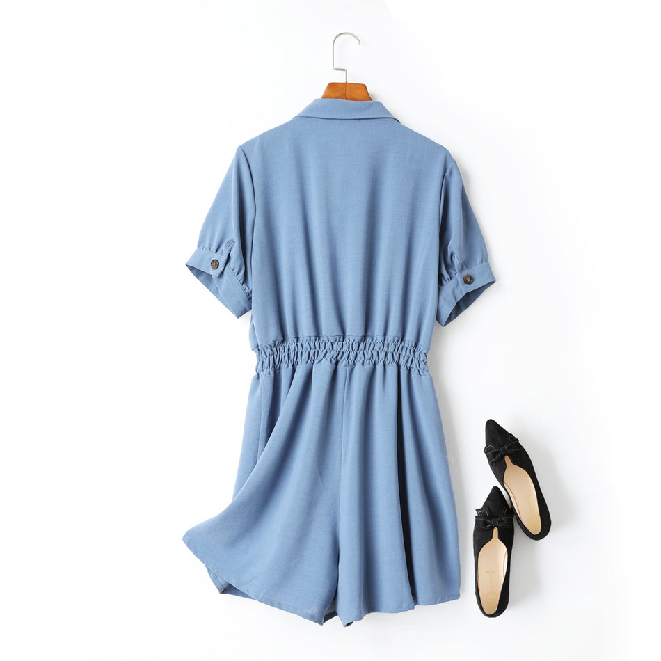 Anais Utility Buttons Plus Size Romper (Blue, Black)