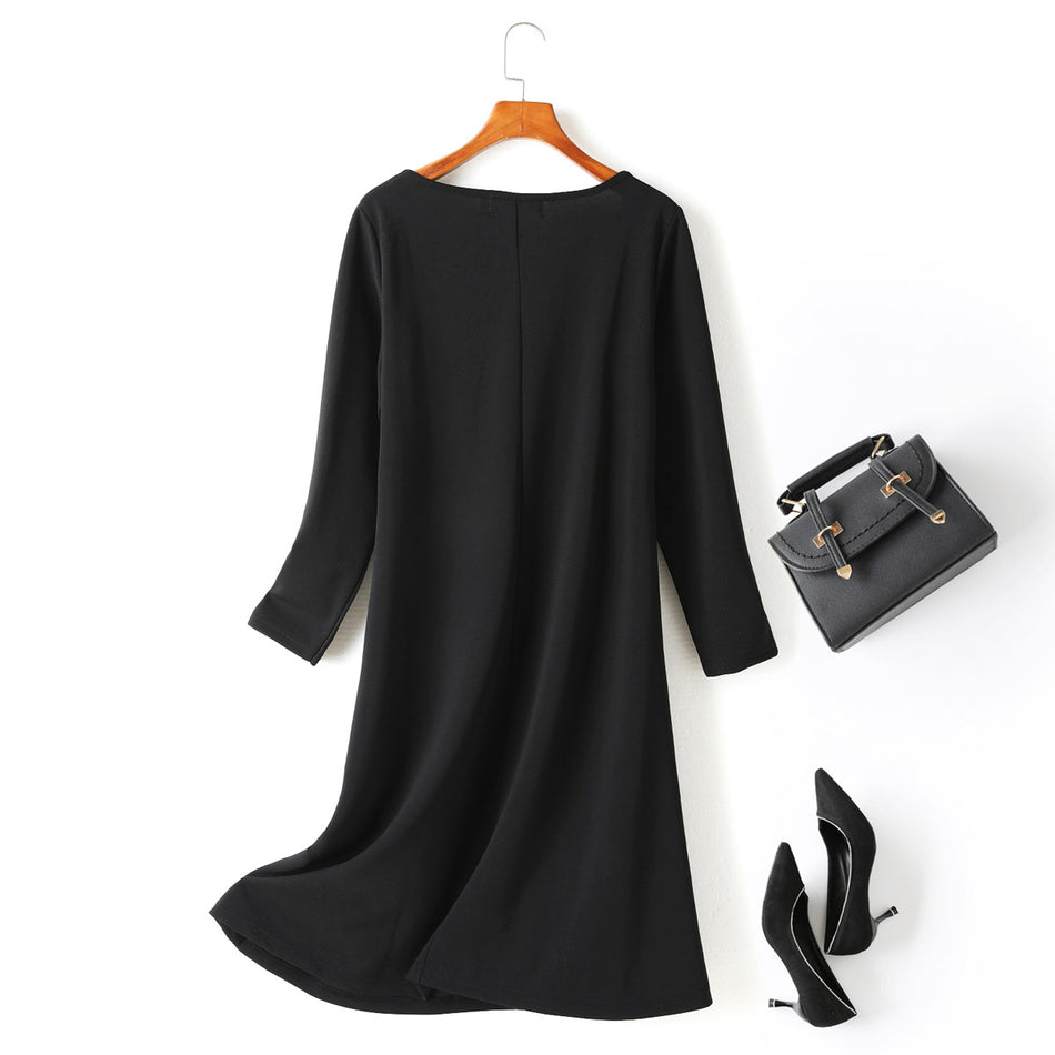 Jenna Plus Size Criss Cross Black Basic Long Sleeve Dress