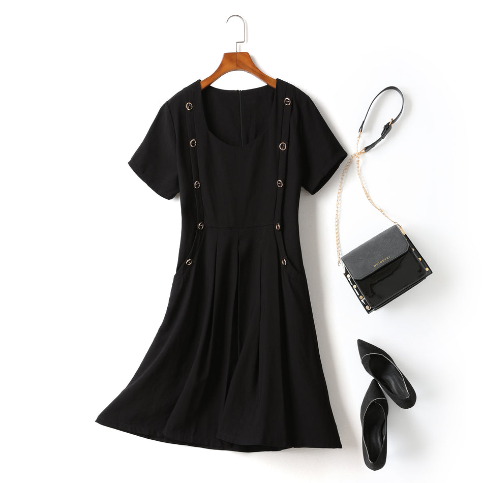 Erika Plus Size Black Grommet Buttons With Pockets Flare Hem Short Sleeve Dress (Ready Stock 2XL - 1 Piece)