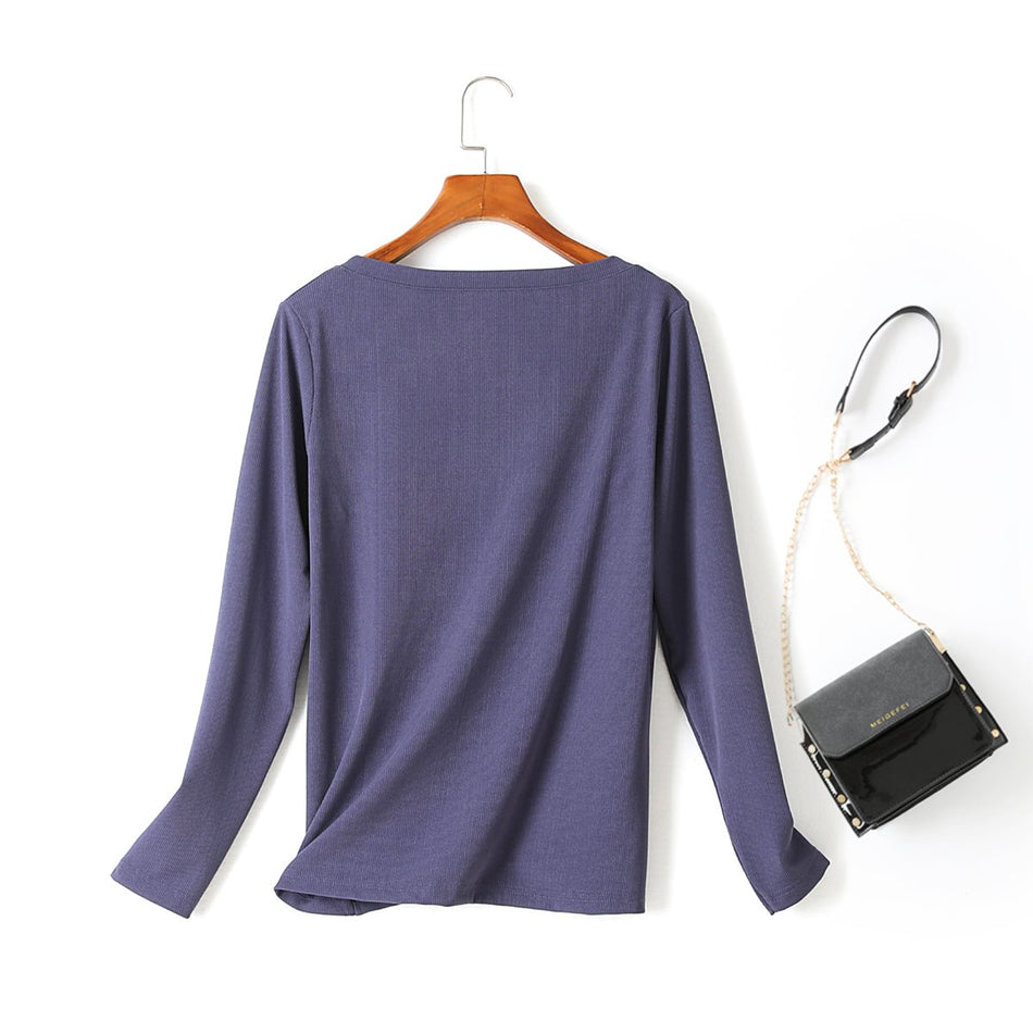 Oline Plus Size Square Neck Ribbed Knit Long Sleeve T Shirt Top (Blue, Black)