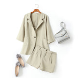 (3 Piece) Cicely Plus Size Blazer, Camisole Top and Shorts Set