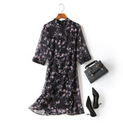 Gina Plus Size Floral Print Chiffon Cheongsam Qipao Mid Sleeve Dress (Black)