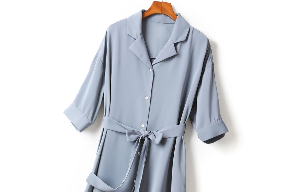 Frances Plus Size V Neck Shirt Collar Waist Tie Mid Sleeve Midi Shirt Dress (Blue, Black)