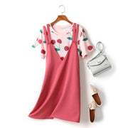 Elly 2 Piece Plus Size Cherry Print Short Sleeve T Shirt Top And Pink V Neck Dungaree Sleeveless Dress Set