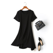 Grace Plus Size Black Irregular Hem Short Sleeve Dress