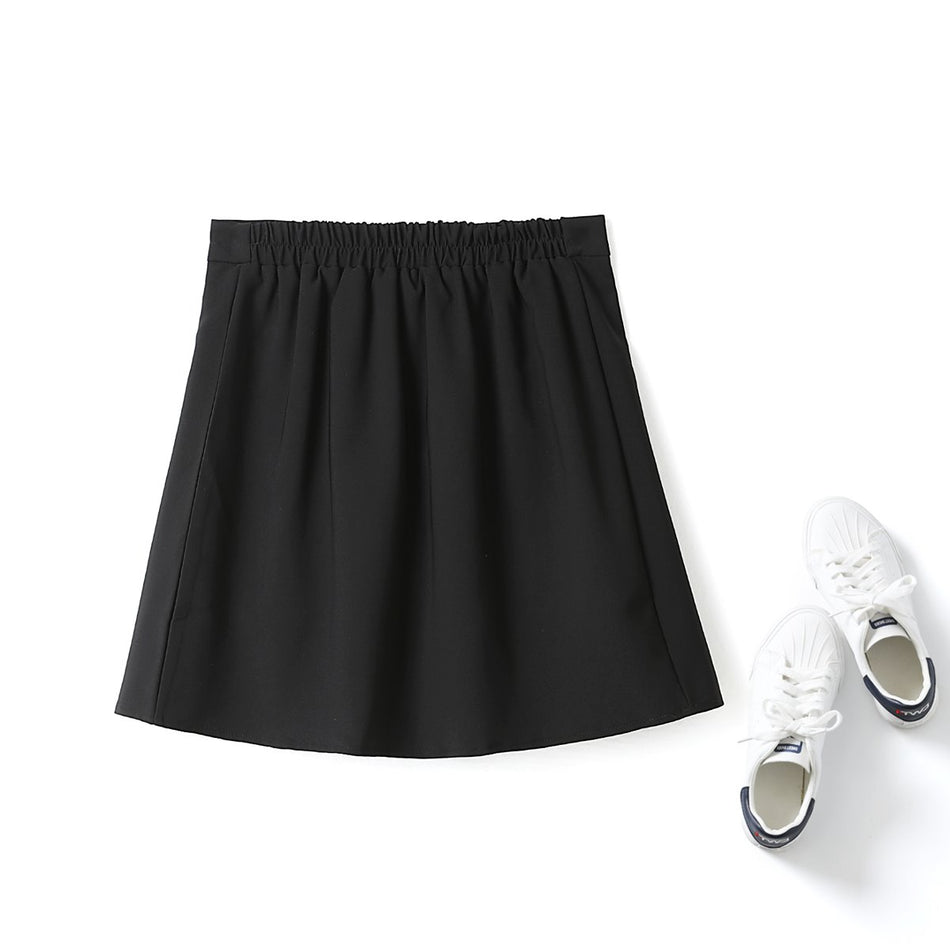 Olive Plus Size Black Pleated Skirt