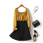 (2 Way Wear!) Hope Plus Size Polka Dots Colour Block Swing Off Shoulder Long Sleeve Dress (Yellow)