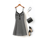 Giuliana Plus Size Tweed Checks Chanel-esque Buttons V Neck Sleeveless Dress