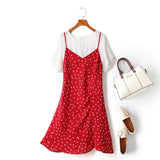 Esmeralda 2 Piece Plus Size White Short Sleeve Blouse And Hearts Print Side Gather Camisole Sleeveless Dress (Red, Black) (Ready Stock Black 2XL - 1 Piece)