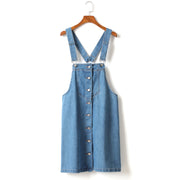 Gladys Plus Size Denim Suspender Dungaree Sleeveless Dress