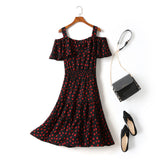 Gabrielle Plus Size Hearts Print Tier Off Shoulder Short Sleeve Midi Dress (Black)