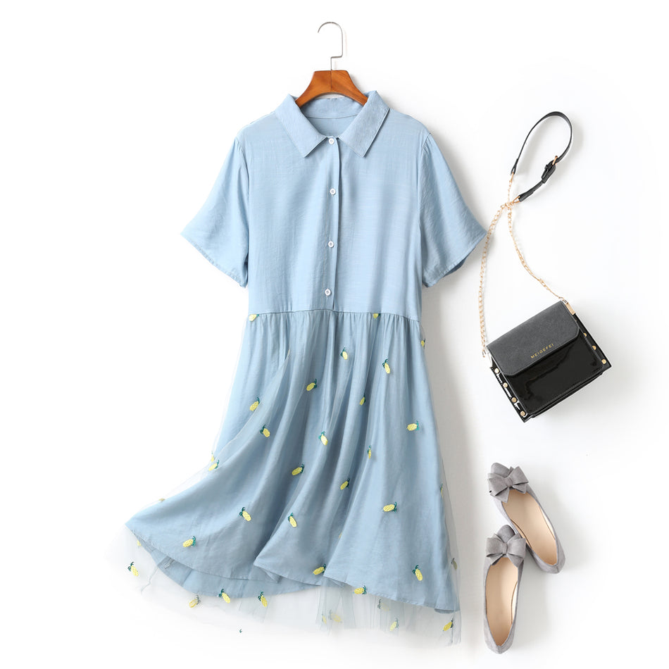 Felicia Plus Size Button Down Pineapple Embroidery Tulle Short Sleeve Shirt Dress (Yellow, Blue)