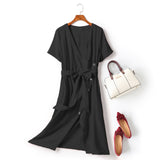 Evalyn Plus Size V Wrap Neckline Buttons Longer Back Short Sleeve Midi Dress (Black, Orange)