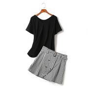 Faylin Plus Size Black V Neck Short Sleeve T Shirt Top And Gingham Checked Double Breast Buttons Skirt Set