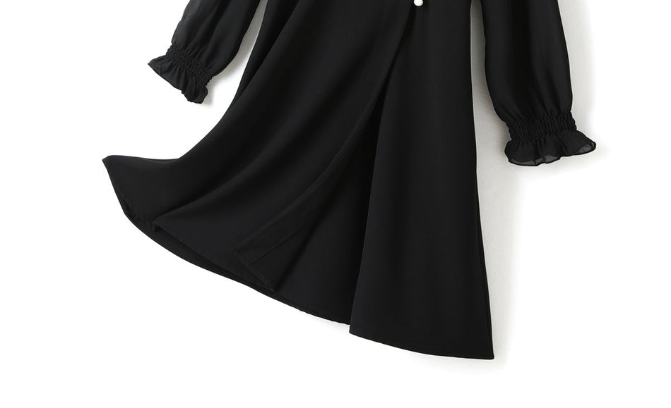 Odette Plus Size Black Wrap V Neck Puff Sleeve Long Sleeve Midi Dress