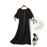 Harper Plus Size V Neck Buttons Ribbon Sleeve Black Short Sleeve Midi Dress