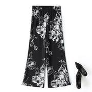 Plus Size Black Floral Wide Leg Pants