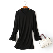(Customizable!) Iaera Choker Neck Split Flare Sleeve Bodycon Fitted Long Sleeve Mini Dress