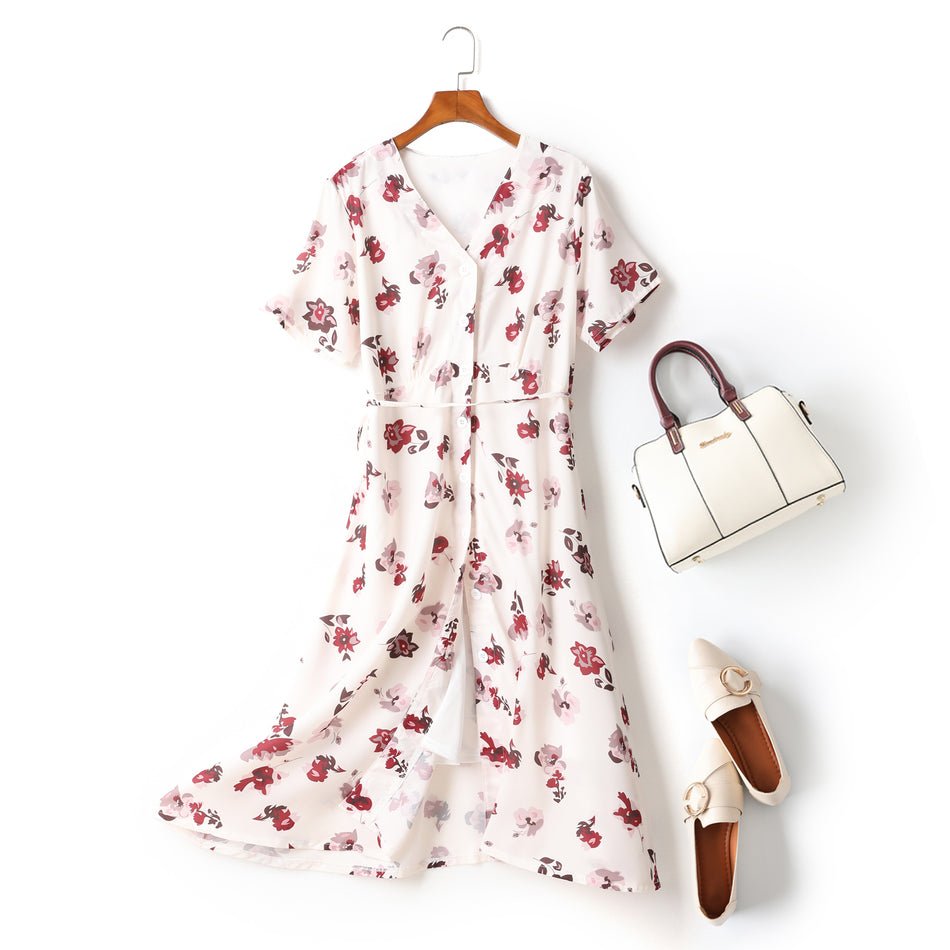 Ella Plus Size White Floral Print V Neck Button Down Short Sleeve Midi Dress (Ready Stock XL - 1 Piece)