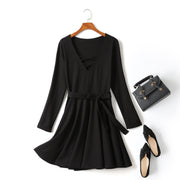(Customizable!) Iolanthe Black Criss Cross V Neck Waist Tie Swing Long Sleeve Dress