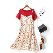 Eberta Plus Size Mock 2 Piece Red T Shirt Top And Artsy White Floral Print V Neck Short Sleeve Midi Dress  (Ready Stock 2XL - 1 Piece)